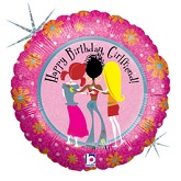 "18"" Happy Birthday Girlfriend Holographic Balloon"