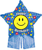 "38"" Smiley Birthday Star with Streamers"