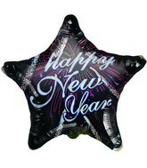 "18"" Happy New Year Fireworks Black Star Balloon"