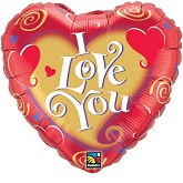 "18"" I Love You Swirling Hearts Balloon"