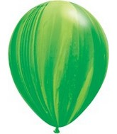 "11"" Green Rainbow Super Agate Latex Balloons"