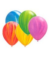 "11"" Rainbow Assortment Super Agate Latex Balloons"