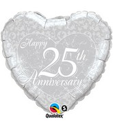 "18"" Happy 25th Anniversary Silver Heart Mylar Balloon"