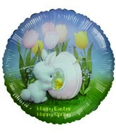 "18"" Happy Easter Tulips Rabbit & Chick Foil Balloon"
