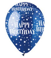 "12"" Crystal Blue Stars Happy Birthday Latex 50&#39s"