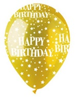 "12"" HBD Stars Crystal Yellow Latex 50Count"