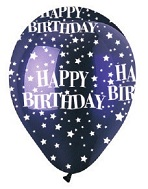 "12"" HBD Stars Crystal Purple Latex 50Count"