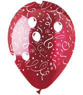 "12"" Festive Streamers Crystal Red Latex 50Count"