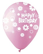 "12"" HBD Dots & Daisies Pink Latex 50Count"