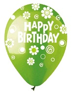 "12"" HBD Dots & Daisies Lime Green Latex 50Count"