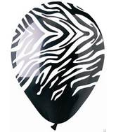 "12""  Zebra Print Black Latex  Balloons (50 pack)"