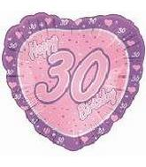 "18"" Happy 30th Birthday Pink Heart"