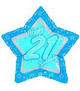 "18"" Happy 21st Birthday Blue Star"