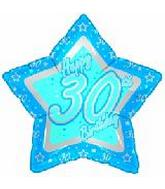 "18"" Happy 30th Birthday Blue Star"