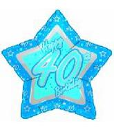 "18"" Happy 40th Birthday Blue Star"