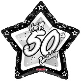 "18"" Happy 50th Birthday Black Silver Slight Damage Print"