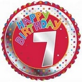 18'' Happy Birthday 7th Red/Silver