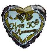 "18"" Happy 50th Anniversary Gold bells silver heart balloon"