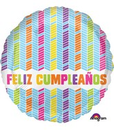 "18"" Feliz Cumpleanos Colorful Chevrons Balloon"