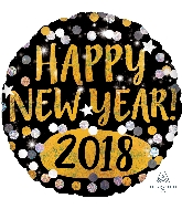 "18"" Happy New Years 2018 Gold & Silver Sparkles"