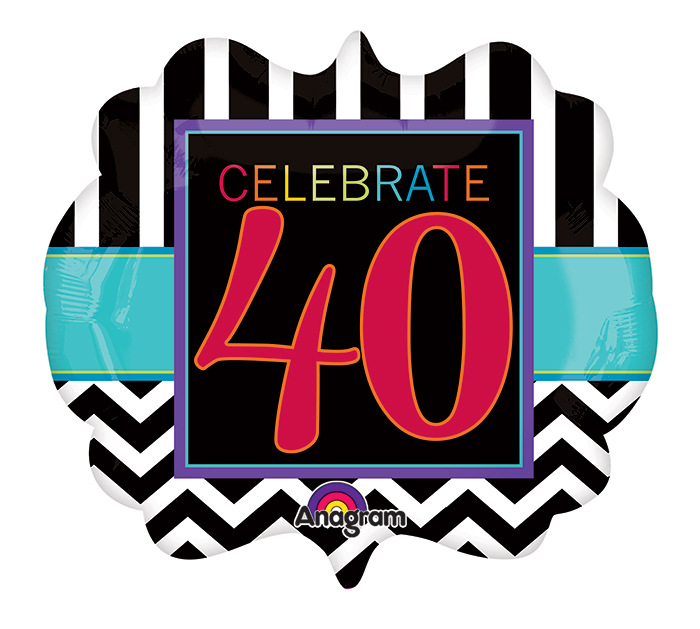 "25"" SuperShape Birthday Celebration 40 Balloon Packaged"