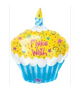 "18"" Junior Shape Make A Wish Cupcake Balloon"