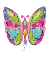 "25"" SuperShape Whimsical Garden Butterfly Balloon"