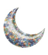 "35"" Holo Fireworks Crescent Moon Balloon"