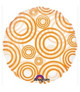 "18"" See-Thru Circles Orange Balloon Packaged"