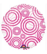 "18"" See-Thru Circles Pink Balloon Packaged"