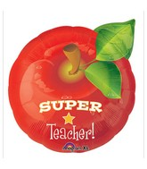 "16"" Junior Shape Super Teacher Apple Balloon"