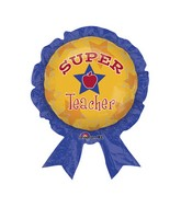 "30"" Super Teacher Award Ribbon Balloon Packaged"