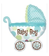 "31"" Baby Buggy Boy Mylar Balloon"