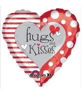 "18"" Red & White Hugs & Kisses Balloon"