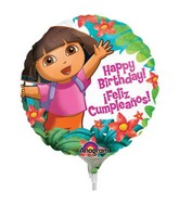 "9"" Mini Balloon (Airfill Only) Dora Birthday"