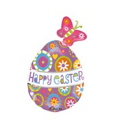 "30"" SuperShape Happy Easter Butterfly Egg Balloon Packaged"