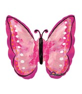 "25"" SuperShape Painted Pink Butterfly Balloon"
