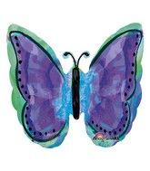 "25"" Painted Purple Butterfly Balloon Packaged"