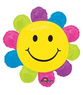 "29"" SuperShape Happy Face Daisy Balloon Packaged"