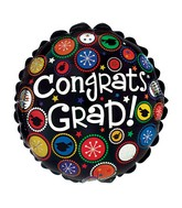 "9"" Aifill Only Congrats Grad Dot Patterns Balloon"