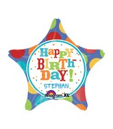 "18"" Personalized Birthday Fever Fun Star Balloon Packaged"
