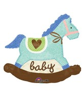 "29"" Baby Blue Rocking Horse Balloon"