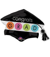"31"" SuperShape Colorful Commencement Cap Balloon"