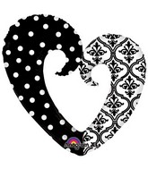 "32"" Damask & Dots Heart SuperShape"