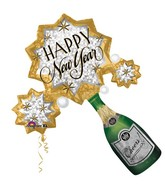 "32"" SuperShape New Year Champagne Burst Balloon"