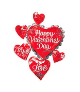 "34"" Happy Valentines Day Swirl Heart Cluster Balloon"