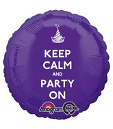 "18"" Keep Calm and Party On Balloon Packaged"