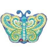 Junior Shape Paisley Teal Butterfly Balloon Packaged