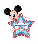 "24"" Mickey HBD Personalize Jumbo Balloon with stickers"