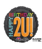 "18"" 2U Happy Birthday Mylar Balloon"